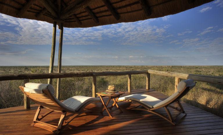 Deck view of the Kalahari from Tau Pan Lodge