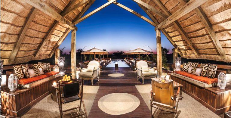 The elegant open air lounge at Feline Fields