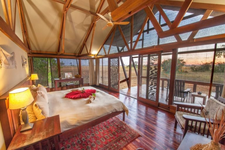 Guest rooms at Lebala have open views of the bush.