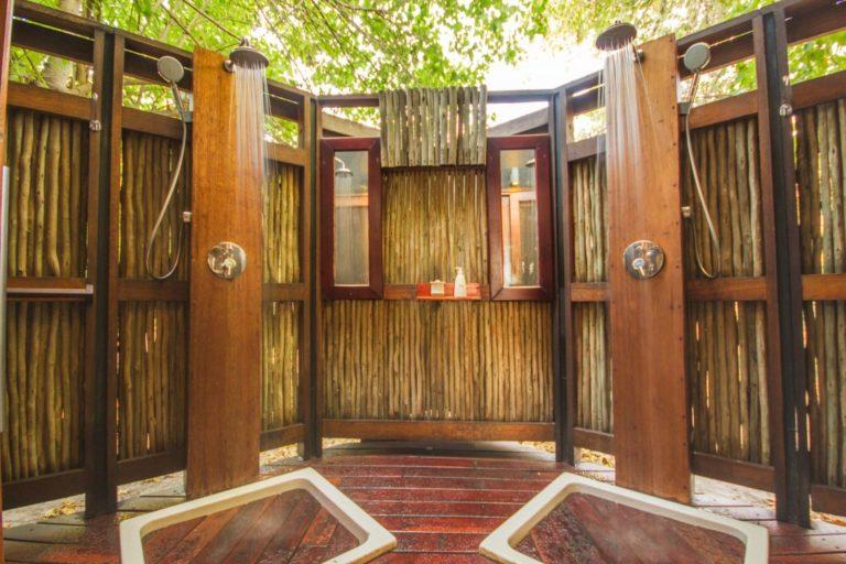 Open air showers at Lebala Camp