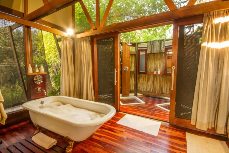 Lebala Camp luxury bathroom with freestanding bath