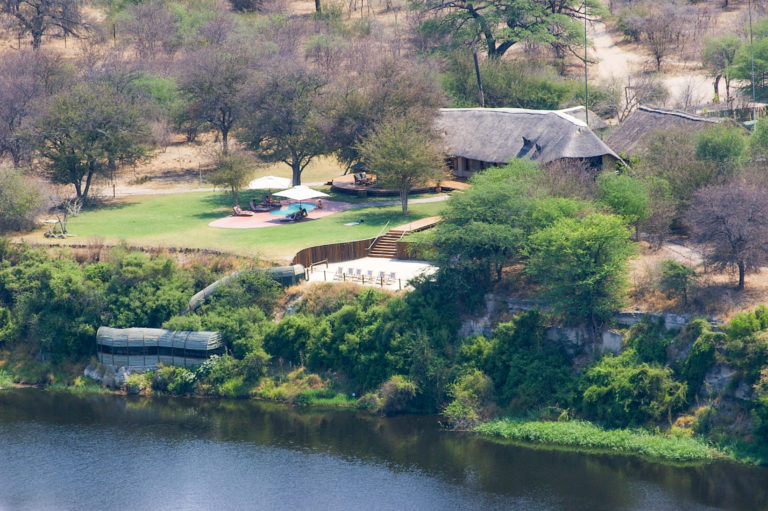 Aerial view of Leroo La Tau Lodge situated on River Bank