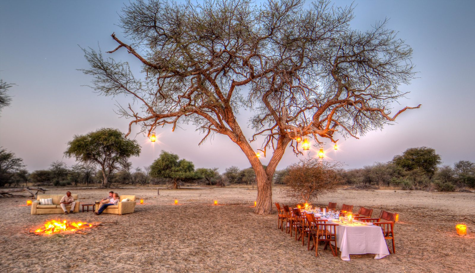 Dinner in the bush at twilight courtesy of Leroo Le Tau