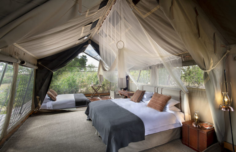 Linyanti Expeditions camp safari guest tents are spacious and light