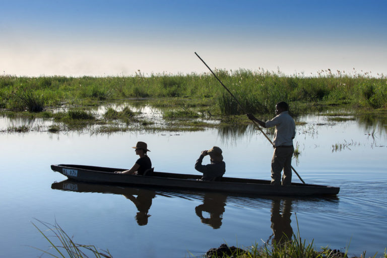 A mokoro ride at Linyanti Expeditions