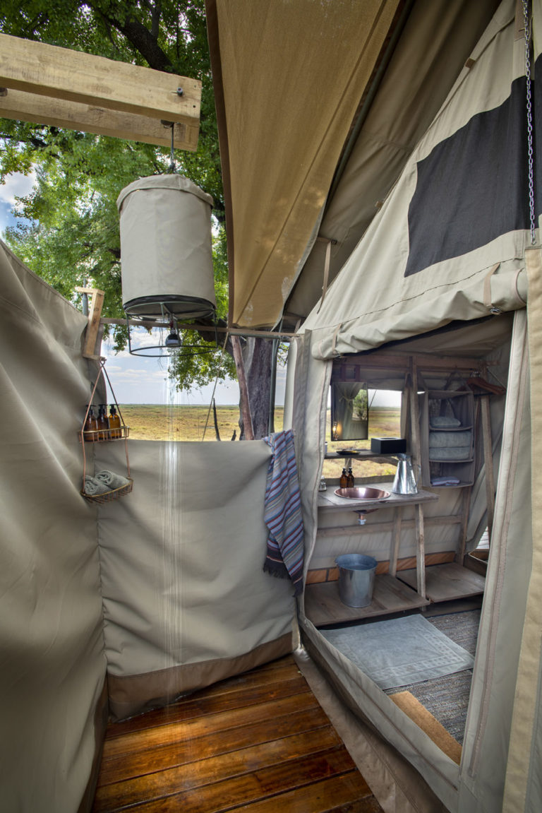 Linyanti Expeditions guest tent shower
