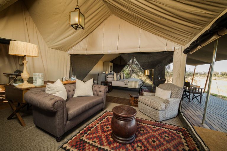 Two luxury family tents at Machaba sleep 4 guests each
