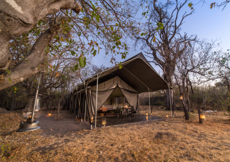 Exterior view of guest tent at Machaba Camp