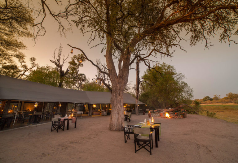 The main dining area tent at Machaba Camp