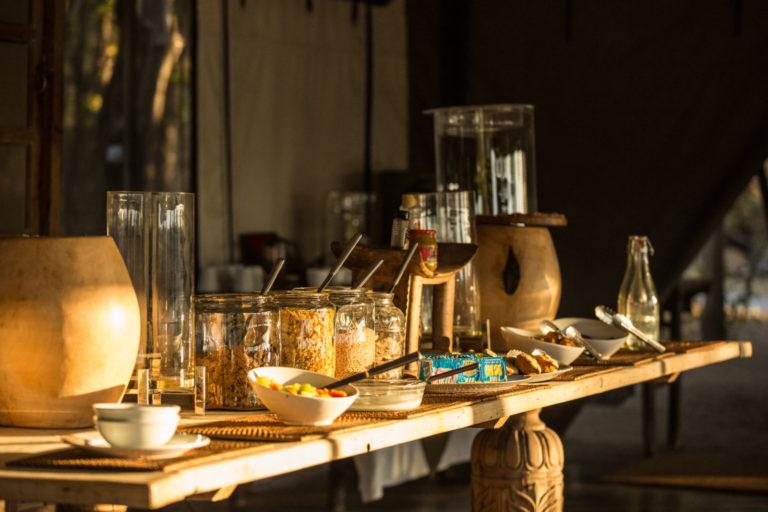 Buffet style breakfast at Machaba Camp