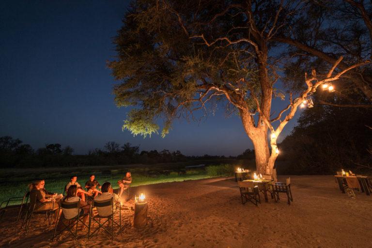 Machaba Camp nighttime bushveld drinks & fire