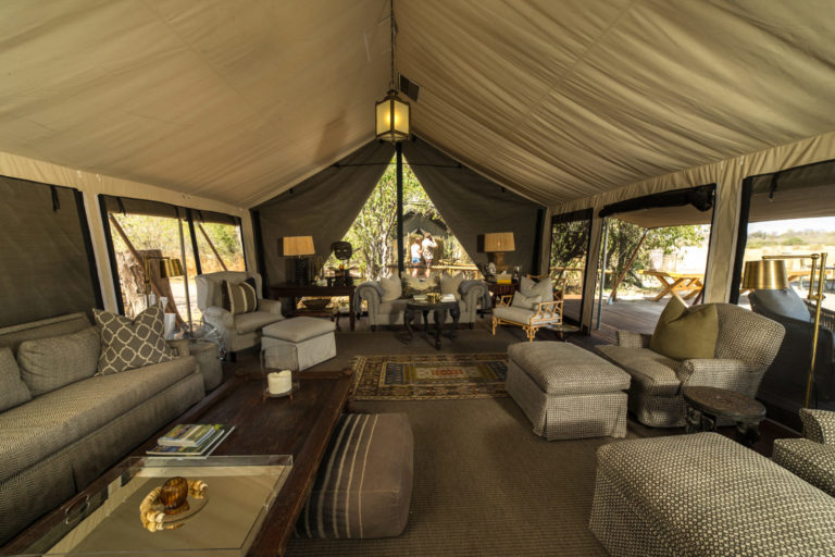 Expansive furnished lounge area of Machaba Camp