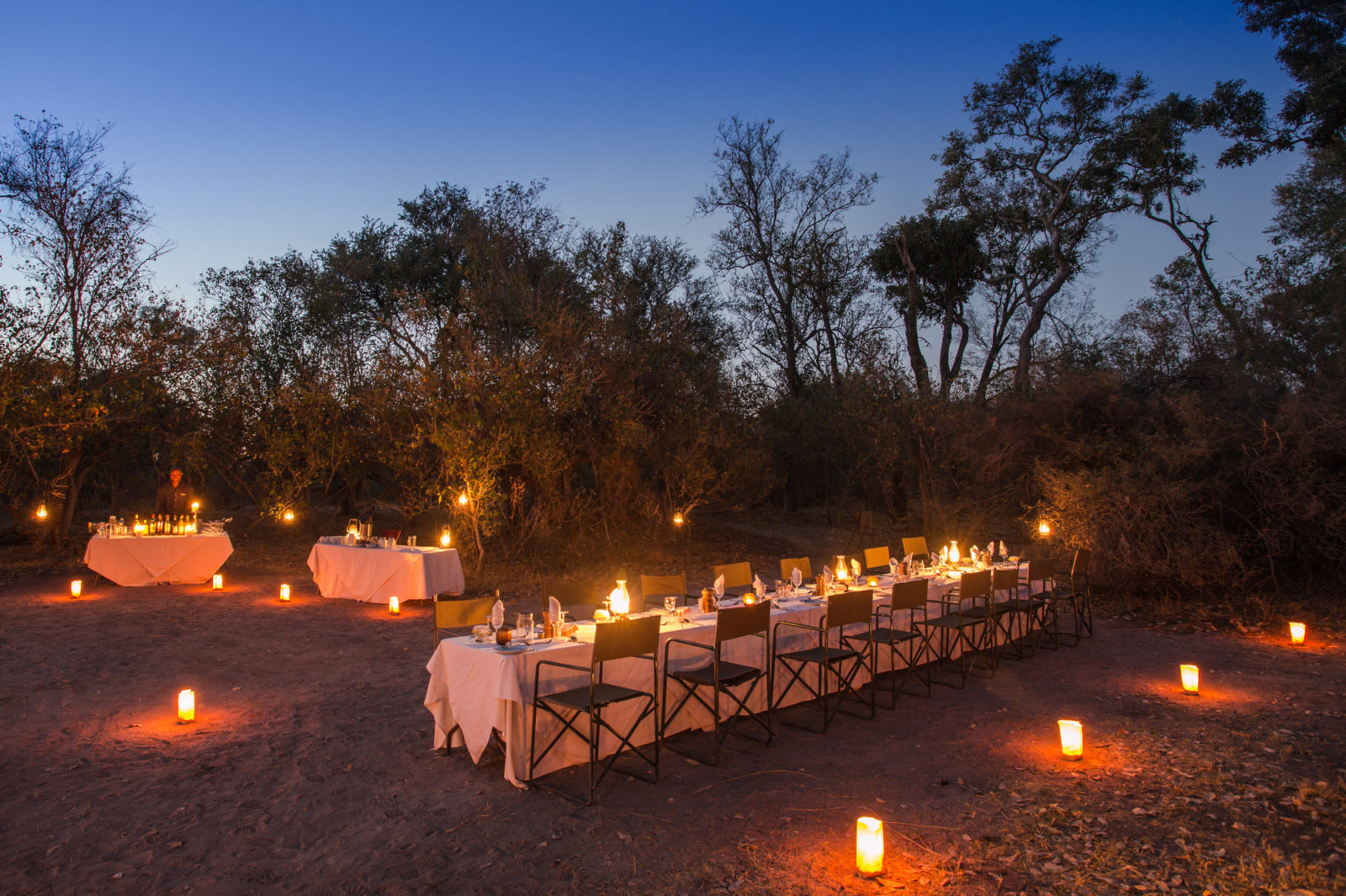 Evening dinner set up at Machaba Camp