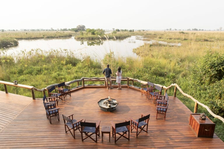 The main deck at Shinde where guests gather around the fire at night