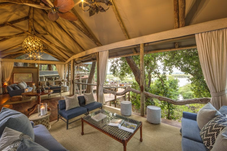 The open lounge at Shinde camp offers wonderful views across the plains and waterway