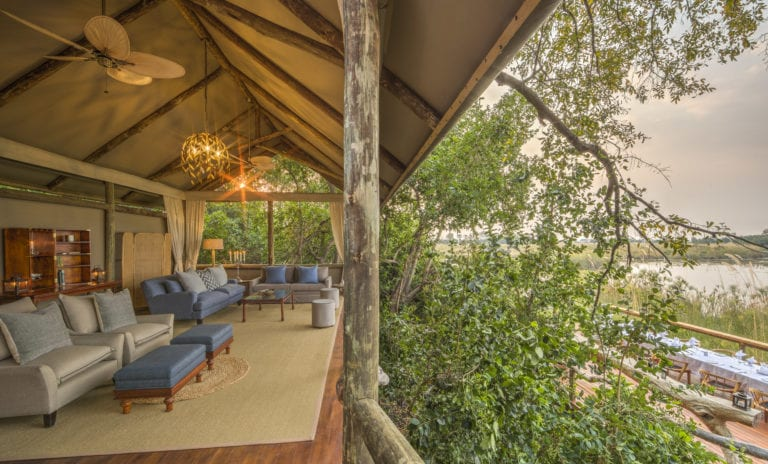 A quiet corner of the raised lounge at Shinde offers lovely views of the Okavango Delta