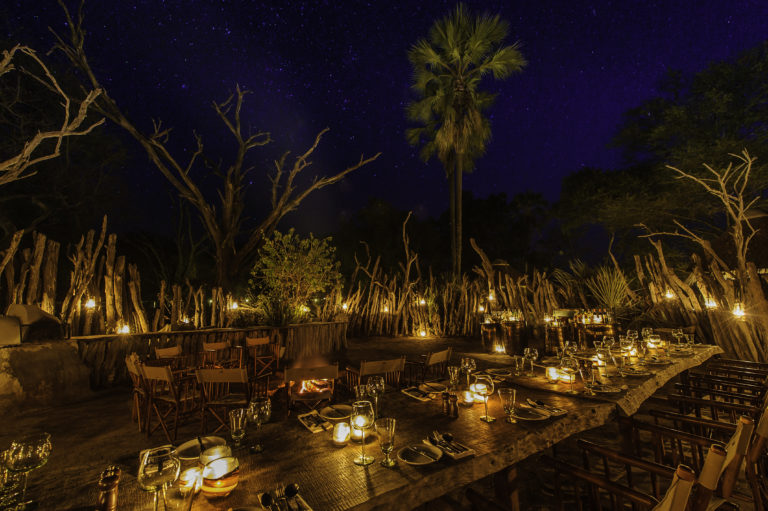 Starlit dinner in the boma at Mombo by lantern light
