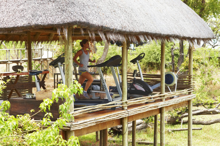 Outdoor gym with a view at the luxury Mombo Camp