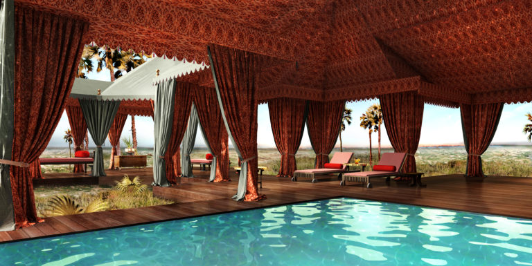 The beautifully designed pool pavilion is a major attraction at Jack's Camp in the Makgadigadi