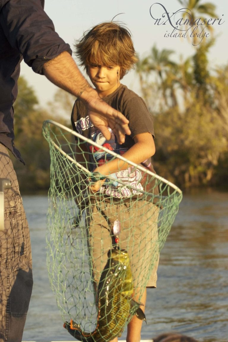 Nxamaseri child friendly activities includes fishing in the pan handle
