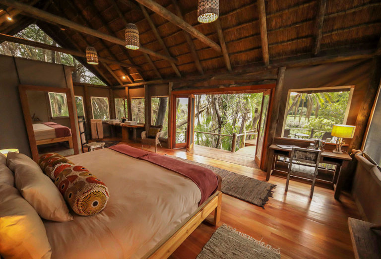 Nxamaseri Island Lodge guest rooms have a safari charm to them