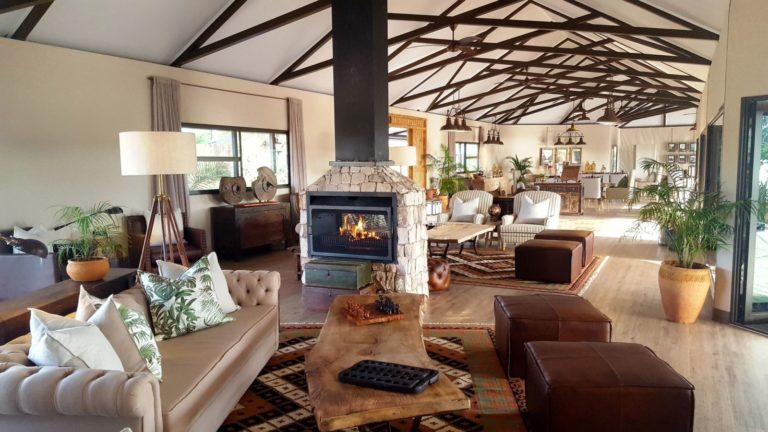 Old Drift Lodge's main lounge area has 360 degree views