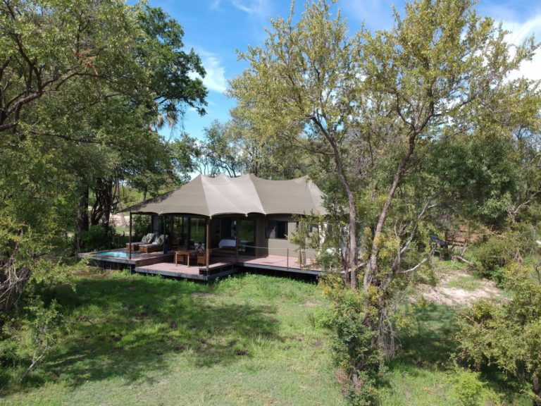Luxury tent exterior with private plunge pool at Old Drift Lodge