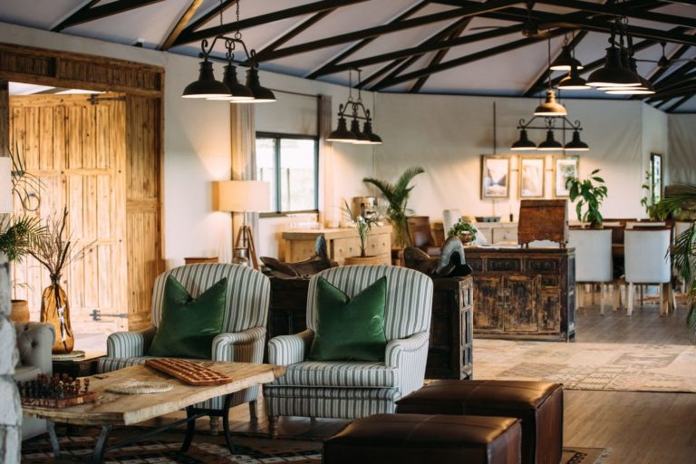 Stylish decor of the main guest area at Old Drift Lodge