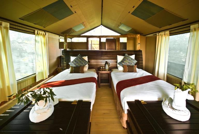 Guest tent interiors at Pom Pom Camp