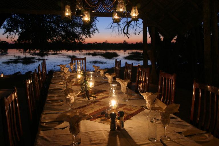 Pom Pom camp dinner with a view by lantern light