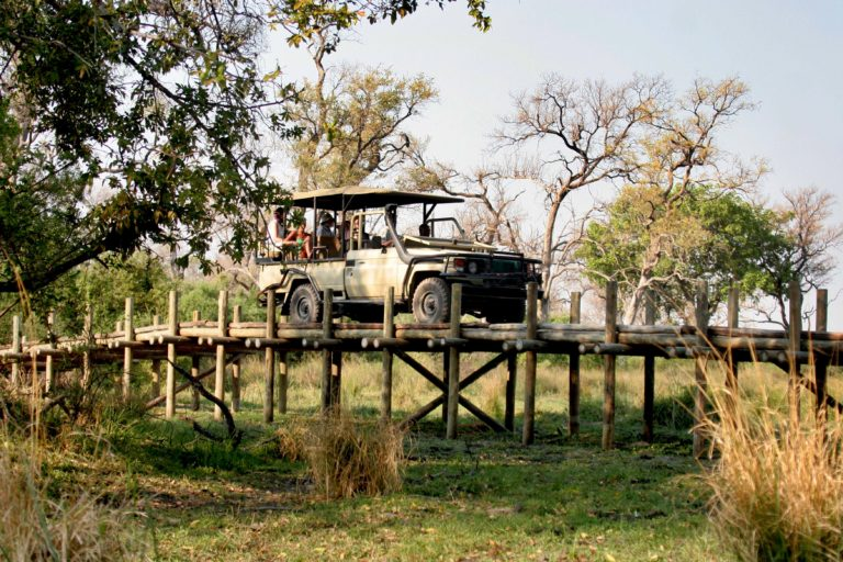 Game drives set off from Pom Pom camp over the bridge