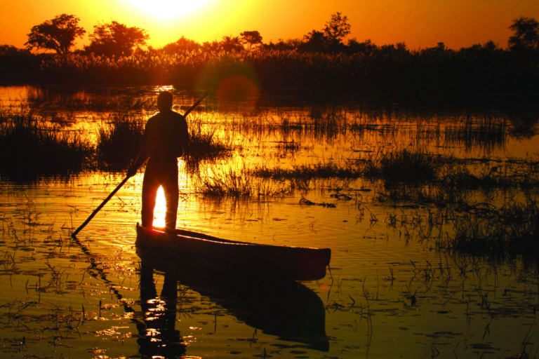 A mokoro with guide silhouetted against the setting sun