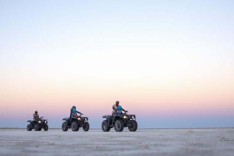 Quad biking across the landscape from Camp Kalahari