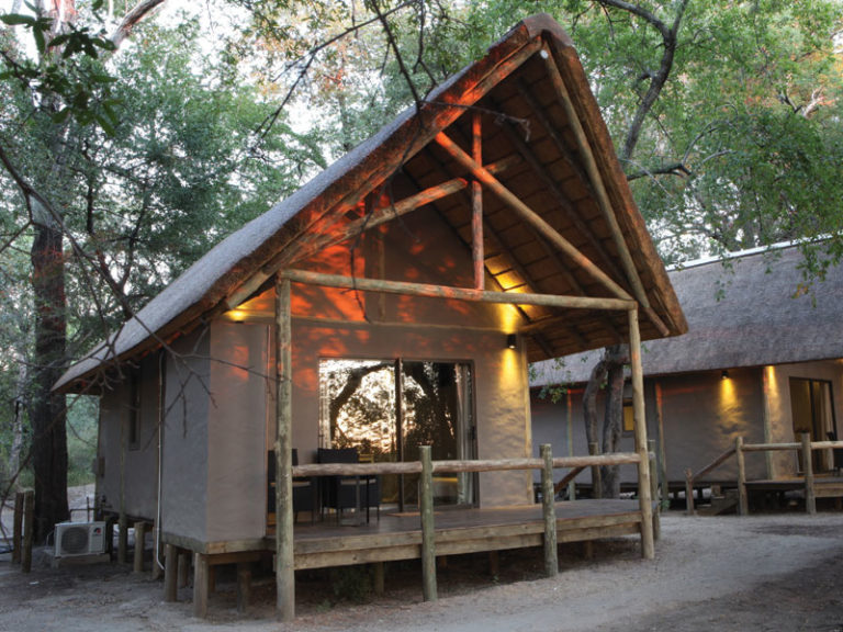 Exterior view of guest tent at Shakawe River Lodge