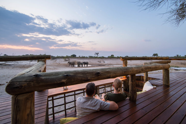Visual of plains game from main deck at Savute Safari Lodge