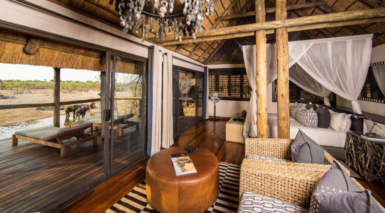 An elegantly furnished chalet at Savute Safari Lodge