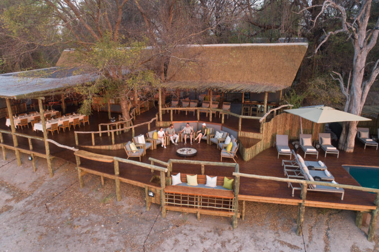 Aerial photo of the fire pit and main deck at Savute Lodge