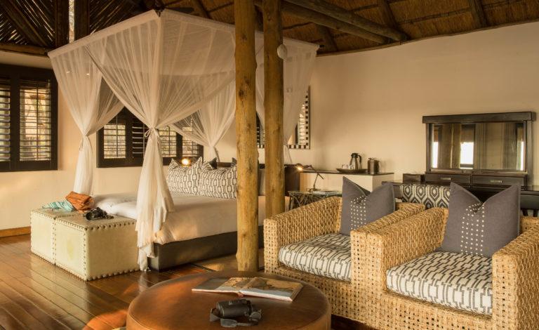Interior view of guest tent at Savute Safari Lodge