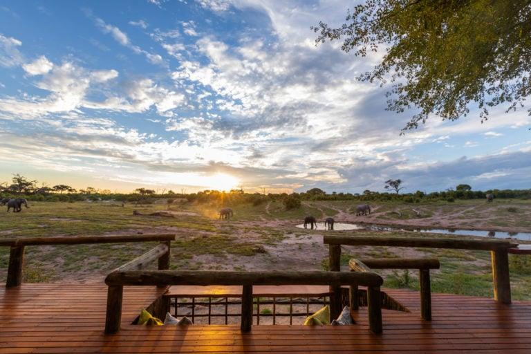 Savute Lodges'viewing deck under vast African skies