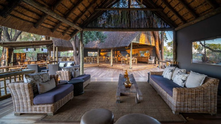 Traditional safari camp decor in lounge area at Seba Camp