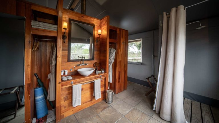 Each guest tent has an en suite bathroom at Seba Camp