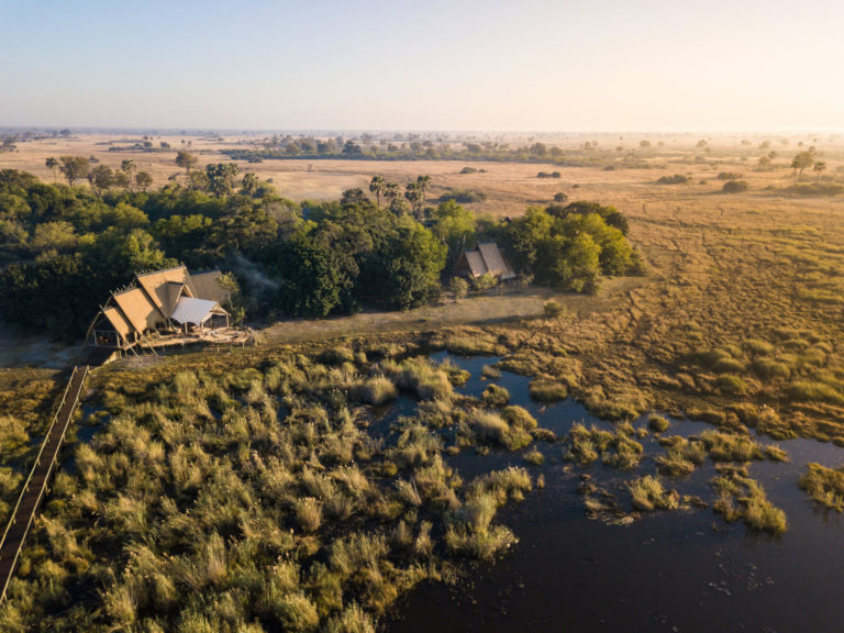 Aerial view of Selinda camp and surrounds