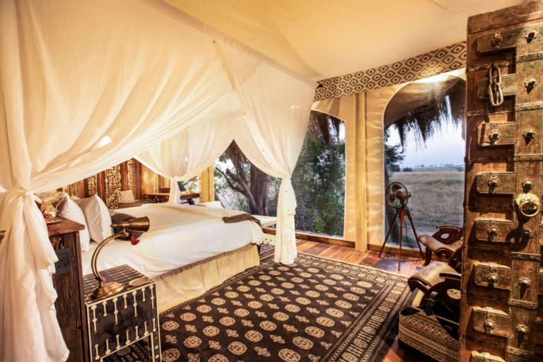 Exceptional room interior of guest suite at Selinda Camp