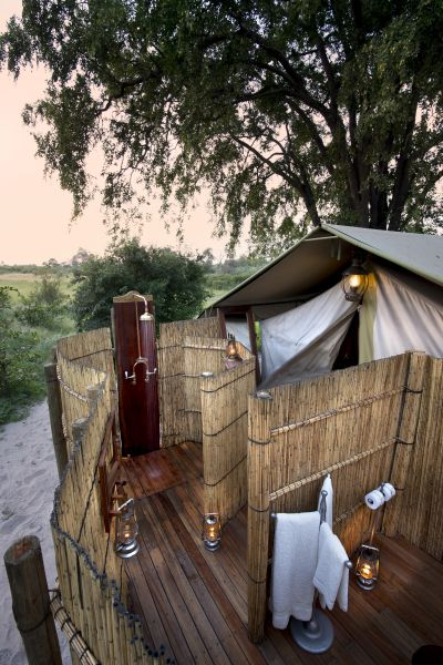 Guest bathrooms at Selinda explorers camp are open air