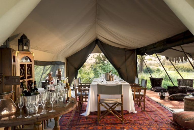 The simple yet stylish tented dining area at Selinda Explorers Camp