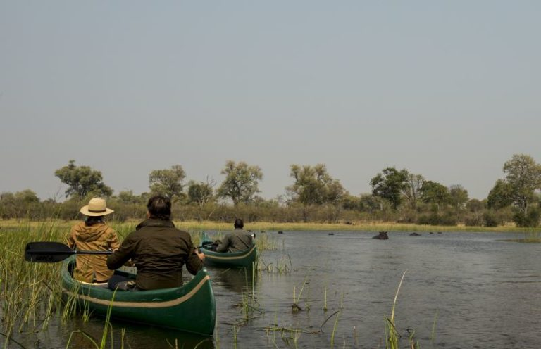 Guests enjoy canoeing activities between May and September at Selinda Explorers