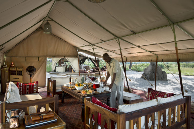 High tea is served in the main dining tent at Selinda Explorer