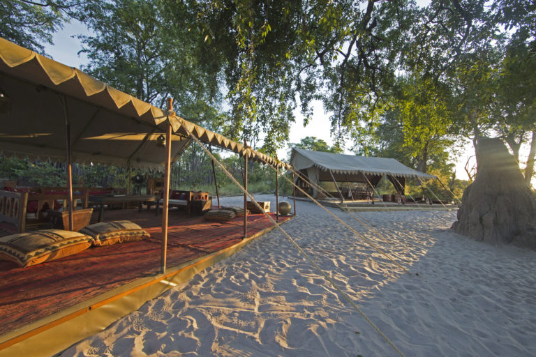View of the camp and main carpeted lounge area at Selinda Explorers