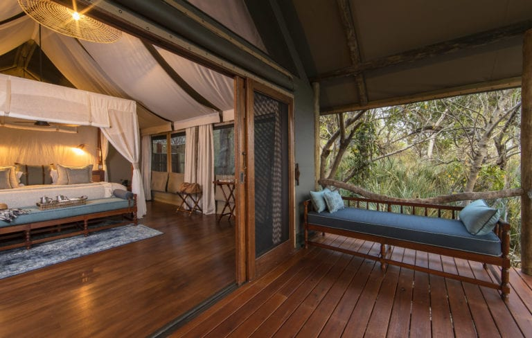 Every tent at Shinde Camp features a private deck with views of the plains to relax between activities