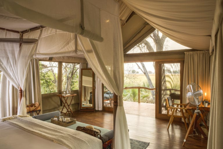 The tented rooms at Shinde are spacious and airy with lovely views of the plains